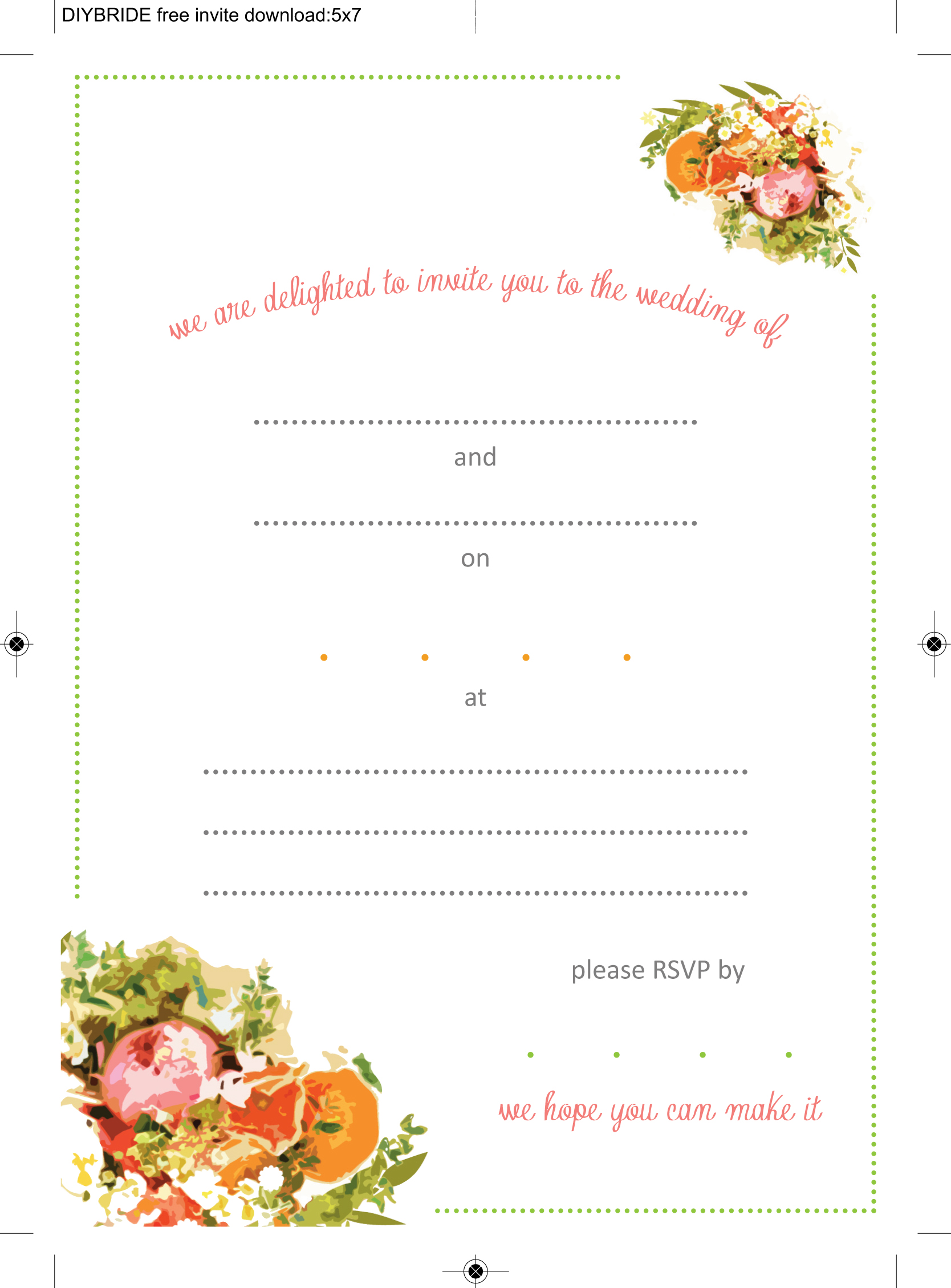Wedding invitation templates that are cute and easy to for Free wedding templates