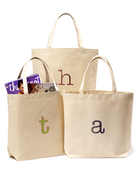 Monogrammed Initial Canvas Totes :  initial tote totebag cotton