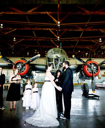 Unique Wedding Ideas Ceremony in an Airport Hanger