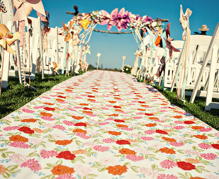 Wedding Ceremony Aisles Bright Patterned Fabric Aisle Runners