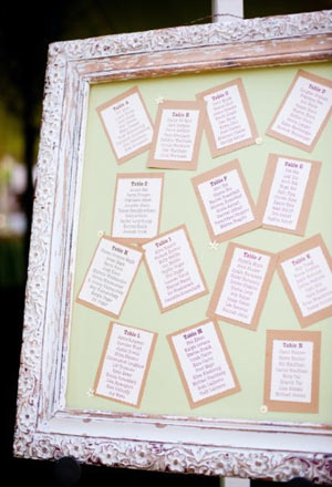 This beautiful old frame gives this simpletomake seating chart a polished