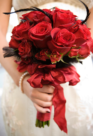 Red and Black Bridal Bouquet Use Feathers Posted Friday August 07