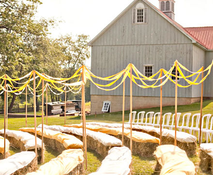 Wedding Ceremony Idea Line the Aisle with Ribbons