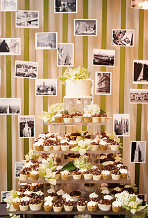Wedding Cake Idea Create a Photo Backdrop for Your Wedding Cake