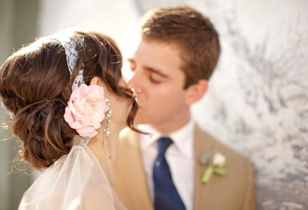 Wedding Hairstyles - A Lace Headband-Flower-Veil Combo