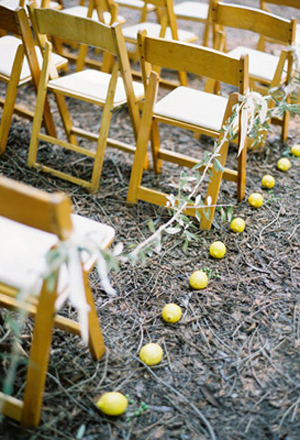 Wedding Ceremony Ideas Line the Ceremony Aisle with Lemons