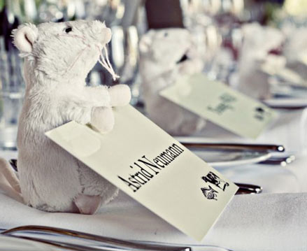 QuirkyCute Wedding Idea Stuffed Animals as Place Card Holders