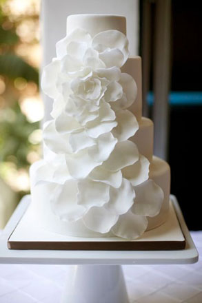White Floral Wedding Cake from the Knot